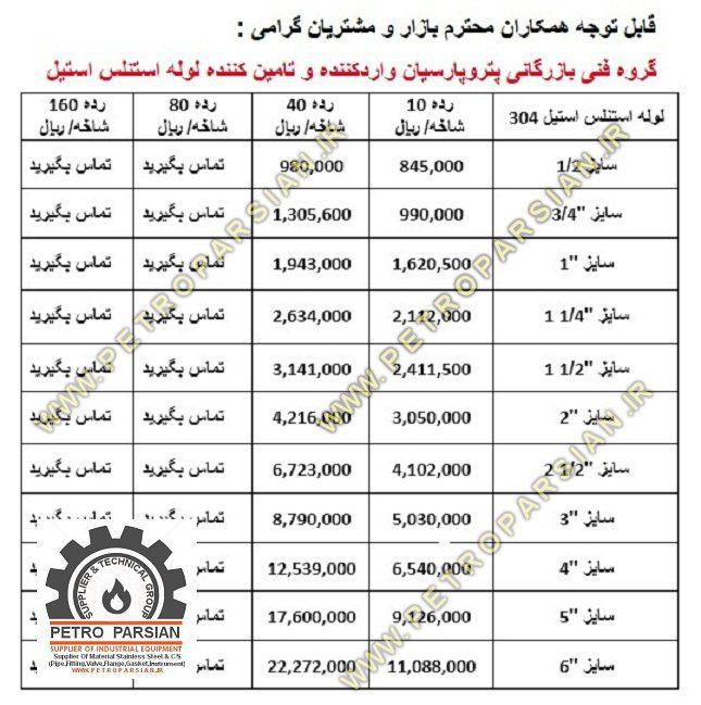خرید و فروش لوله استیل 304 در اصفهان